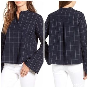 Madewell Bell Sleeve Shirt in Navy Windowpane